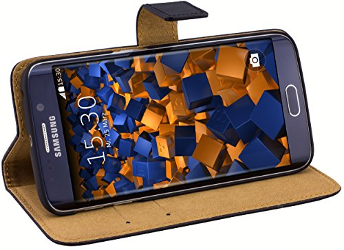 mumbi Echt Leder Bookstyle Hülle kompatibel mit Samsung Galaxy S6 Edge Hülle Leder Tasche Hülle Wallet, schwarz
