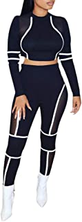 Women Sexy Mesh Hollow Out 2 Piece Outfit Color Block Patchwork Long Sleeve See Through Crop Top and Long Pants Set