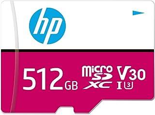 HP mxV30 microSDXC Speicherkarte 512 GB + SD Adapter, 100 MB/s Lesegeschwindigkeit, 85 MB/s Schreibgeschwindigkeit, Klasse 10 UHS I, U3, V30 für 4K Video