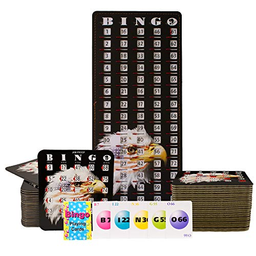MR CHIPS Jam-Proof Bingo Cards with Sliding Windows, 50 Stars & Stripes Bingo Cards, 75 Bingo Calling Cards, 1 Bingo Master Board