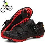 KUXUAN Zapatillas de Ciclismo MTB Hombres Mujeres - Bicicleta de Montaña Profesional Autoblocante Transpirable Compatible con Zapatos con Hebilla SPD Cleat,B-42EU=(260mm)
