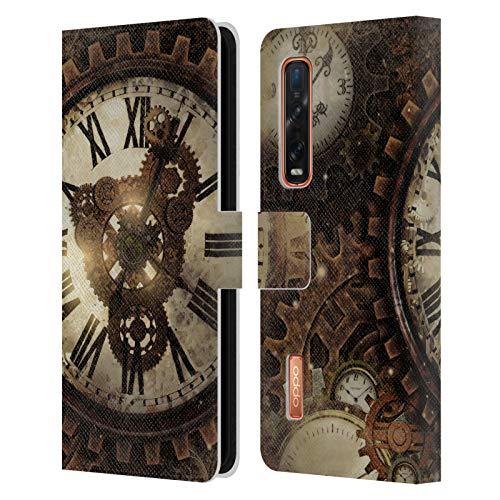 Head Case Designs Offizielle Zugelassen Simone Gatterwe Vintage Uhr Steampunk Leder Brieftaschen Handyhülle Hülle Huelle kompatibel mit Oppo Find X2 Pro 5G
