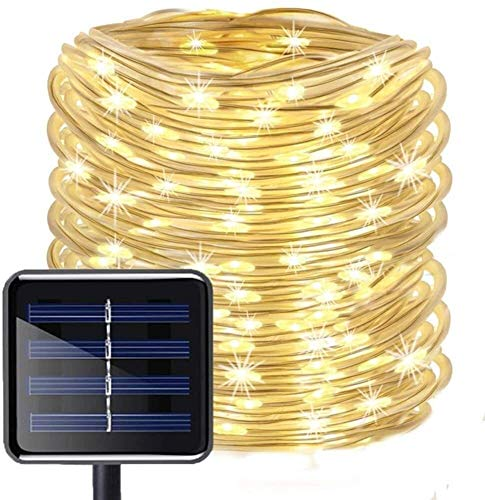 String Lights Plug in 200 LED Solar Garden Lights Waterproof 8 Modes Indoor/Outdoor Fairy Lights Copper Wire Decorative Lighting for Patio, Yard, Party (Color : Yellow)