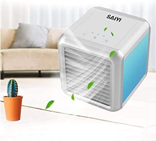 Personal Air Cooler Mini Air Conditioner Fan USB Air Conditioning Cooling Fan Portable LED 7-Color Personal Evaporative Coolers Ultra Compact for Car, Home, Camping