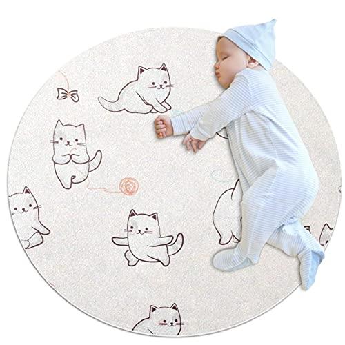 JHKHJ Alfombra de cocina lavable alfombra de entrada alfombra de escritorio baño acento alfombra lindo gatos 100x100cm
