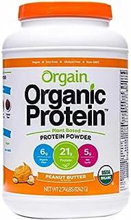 Orgain Organic Plant Based Protein Powder, Vegan, Low Net Carbs, Non Dairy, Gluten Free, Lactose Free, No Sugar Added, Soy Free, Kosher, Non-GMO (.2.74lb, PeanutButter)