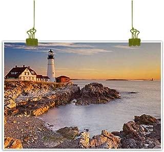 United States Simulation Oil Painting Cape Elizabeth Maine River Portland Lighthouse Sunrise USA Coast Scenery Decorative Painted Sofa Background Wall 28