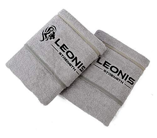 Leonis Strength ** JETZT NEU ** Fitness Handtuch mit Magnetclip und Handytasche zum Überstreifen | XXL 100x50 cm Gym Towel aus 100% Baumwolle - Multifunktionshandtuch