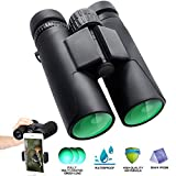 ToyerBee Binoculars, 12X42 HD Roof Prism Folding Binoculars for Adults&Kids, Waterproof Binocular Weak Light Night Vision for Bird Watching Concert Traveling and Sightseeing with Smartphone Adapter