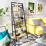 Glorider Industrial Ladder Shelf, Metal Frame Vintage Wooden Bookcase, 4 Tier Utility Organizer Shelves, Multipurpose Plant Flower Stand Storage Rack Shelves for Living Room, Bathroom, Balcony