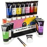 OfficeTree Acrilicos para Pintar 14 Tubos de 100 ml - Alta Pigmentación a Base de Agua - Kit Pintura Acrilica - Secado Rápido