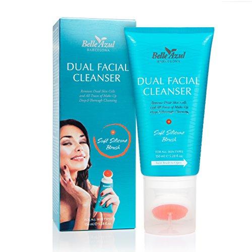Belle Azul - Dual Facial Cleanser - Nettoyant Visage – Nettoie et Exfolie - Élimine les Points Noirs - Peau Fraîche et Revitalisée-Comprend brosse applicateur en silicone/150 ml. Fabriqué en Espagne