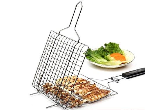 RoseFlower BBQ Steak Grillkorb Fischgriller Fischbräter Fischhalter Gemüsehalter Grillwender aus Edelstahl Grill-Korb mit Griff - Ideal Barbecue Grillen Kit für Dad, Silber