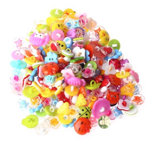 200pcs Cute Buttons Backhole Handmade Scrapbooking Sewing DIY Craft Cartoon Animal fruite