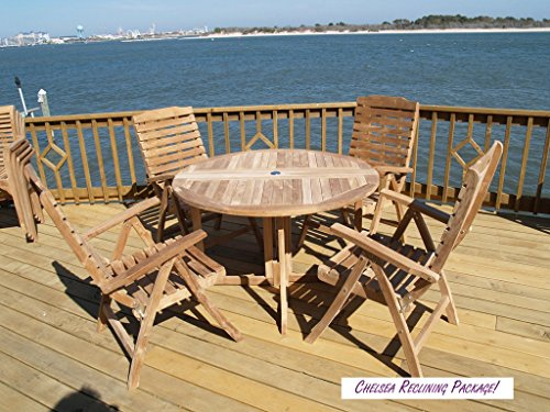 """Windsor's Genuine Grade A Teak, Barcelona 39"""" Round Drop Leaf Table W/4 Chelsea 5 Position Reclining Folding Chairs, World's Best Outdoor Furniture! Assembled"""