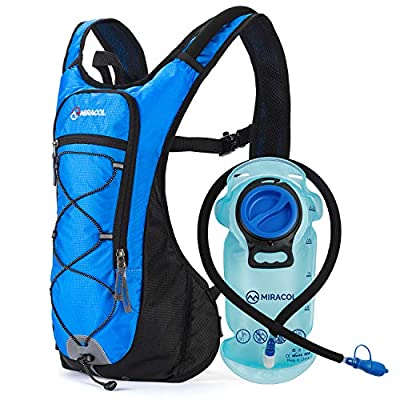 MIRACOL Hydration Backpack with 2L BPA-Free Bladder Lightweight Hydration Pack for Running Hiking Climbing Biking Cycling Skiing (Blue)