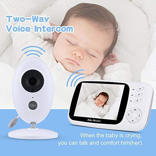 Babyphone intelligente dual audio muziekspeler infrarood nachtzicht draadloos 3,5 inch LCD-audio geschikt voor binnen kinderkamer babykamer wit