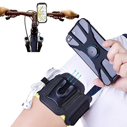NaRuDo - Brazalete de teléfono celular 2 en 1 para correr, desmontable con soporte para bicicleta de silicona, giratorio 360º, soporte universal para teléfono celular para senderismo en bicicleta