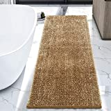 LOCHAS Luxury Bathroom Rug Runner Non Slip Chenille Bath Rugs 24x60 Inch, Super Soft and Comfy Carpets, Plush Shaggy Absorbent Bath Mat Runners for Bathroom, Machine Washable, Beige