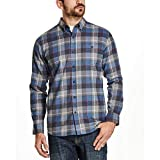 Weatherproof Vintage Mens Flannel Shirt (Royal Plaid, Large)