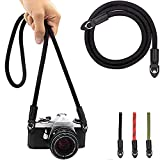 Eorefo Camera Strap Vintage 100cm Nylon Climbing Rope Camera Neck Shoulder Strap for Micro Single and DSLR Camera.(Black)