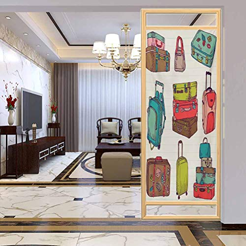 Privacy Sticker Home Bathroom Decortion, Doodle Colorful Suitcases Holiday Inspired Design Trave, Home Bathroom Toilet Decorative, W35.4xH78.7 Inch