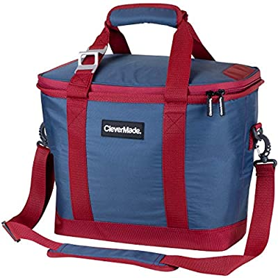 CleverMade SnapBasket 30 Can Soft-Sided Collapsible Cooler: 20 Liter Insulated Tote Bag with Shoulder Strap