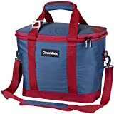 CleverMade SnapBasket 30 Can Soft-Sided Collapsible Cooler: 20 Liter Insulated Tote Bag with Shoulder Strap, Denim/Berry