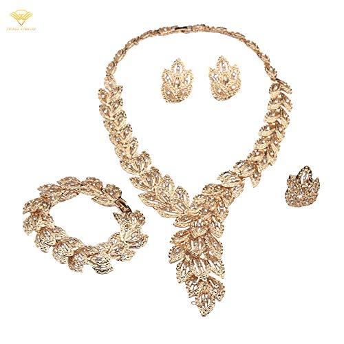 ZIJIAGE-Jewelry 4 unids/Set Joyas Cristal Rhinestones Pulsera en Forma de Pluma Anillo Collar Pendientes Conjuntos para Regalo de Mujer Nupcial