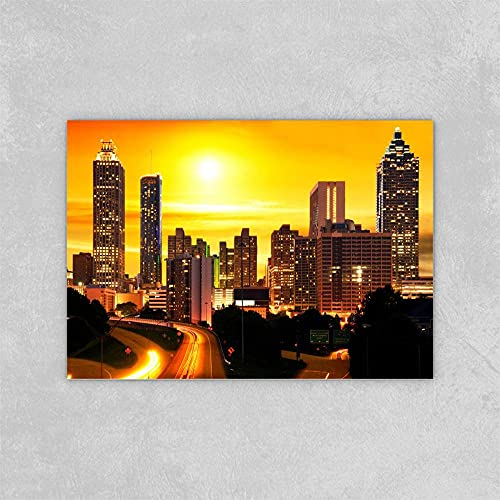 DFRES Atardecer Posters Impresiones Atlanta Skyline USA Pinturas Paisaje Lienzo Arte De La Pared Cuadros De La Pared para La Salon De Estar Decoracion EstéTica del Hogar 60x90cm Sin Marco