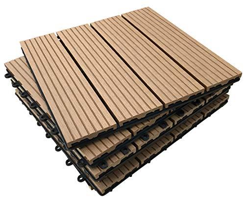 Terrassenfliesen aus Verbundmaterial, Teak-Optik, Klick-System, für Terrasse/Balkon/Dachterrasse/Whirlpool-Deck, 6 Stück