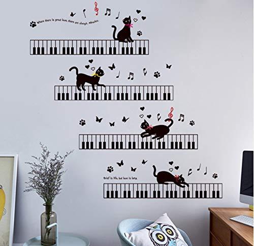 Cczxfcc Piano Cat Muurstickers Slaapkamer Woonkamer Keuken Baby Kamer Decor Muurstickers Poster DIY Muurschilderingen Zelfklevende Film