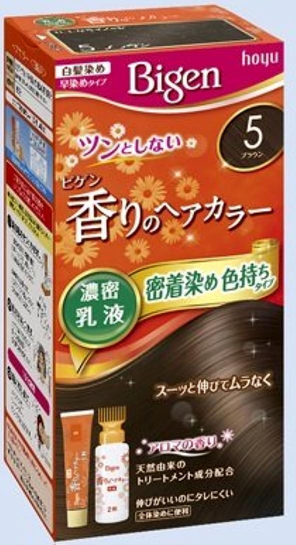 わかる主婦社会主義ビゲン 香りのヘアカラー 乳液 5 ブラウン × 10個セット