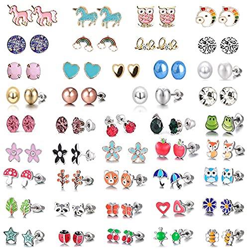 42 Paia Orecchini a Forma di Animale, Orecchini Colorati a Lobo in Acciaio Inox, per la Decorazione di Orecchini a Bottone, Indossare Accessori Coordinati