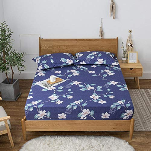 GTWOZNB Super Soft Warm and Cosy Fitted Bed Sheet Waterproof single bed sheet dustproof-spring warm flowers_120*200cm