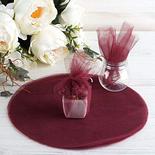"""Tableclothsfactory 5pcs of 25pcs/ pk 12"""" Tulle Circles Wedding Party Baby Shower Favors - Burgundy"""