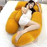 ELKeyko Acogedor Embarazo Almohada de Maternidad Cubiertas de Cuerpo Completo Accesorios Largo Bodypillow Almohada de Embarazo Ropa de Cama para Dormir (Color : Yellow)