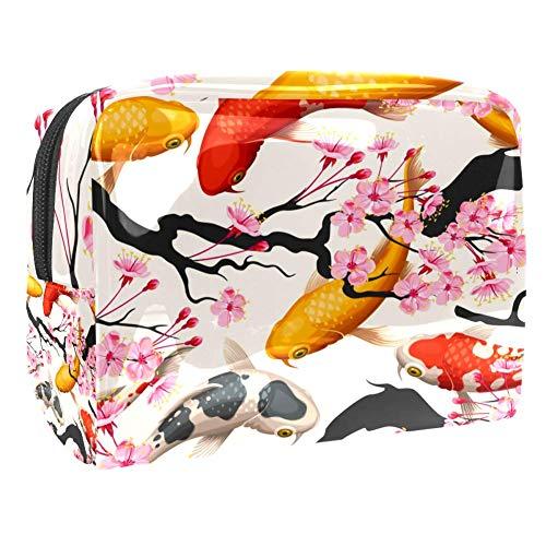 Trousse de maquillage multifonction pour les cosmétiques de voyage - Sac de rangement pour les femmes japonaises koï poisson sakura - Motif cerise