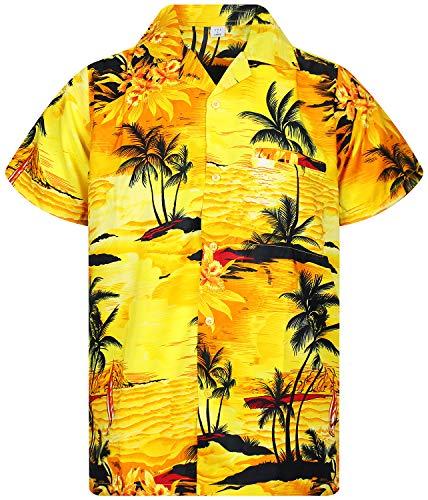 V.H.O. Funky Hawaiihemd, Kurzarm, Surf, gelb, XXL