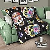 Flowerhome Totenkopf Schmetterling Tagesdecke Steppdecke Bettdecke Bettüberwurf Sofadecke Couchdecke Schlafdecke Wohndecke Kuscheldecke für Erwachsene Kinder White 100x150cm