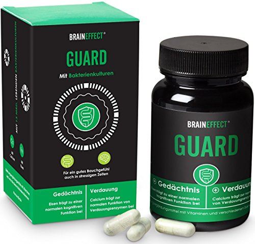 BRAINEFFECT GUARD - 60 Kapseln - Darmsupport mit Calcium - Eisen, Calcium & Vitamin B12 - Vegan - German Quality