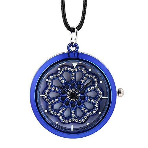 Vintage Vrouwen Mannen Voor Ketting Pocket Horloge Unisex, Nieuwigheid Blauwe Ketting Horloge Invoegen Diamant Kristal Draaitafel Lederen Touw Quartz Horloge Klok Dames Meisjes Prachtige Persoonlijkheid Gift