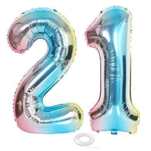 SNOWZAN XL Zahlen Ballon Nummer 21.Luftballon Regenbogen Mädchen Junge Luftballons Zahl 21.Geburtstag Deko Blau Rose Bunt Schillernde 21 Jahre FolienBallon 32 zoll Riesen Helium Happy Birthday Party