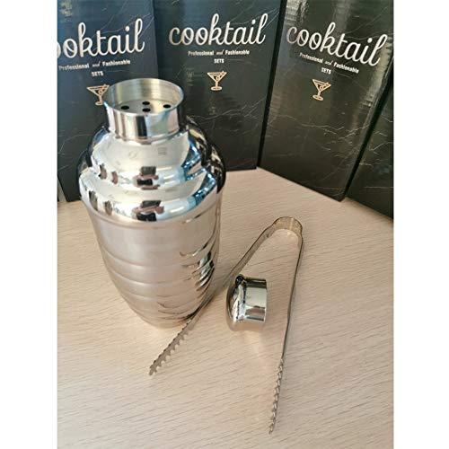 FONGWAH Cocktail Shaker Bar Werkzeuge mit Zubehör Ice-Tong, Einbauschränke Barkeeper Sieb (300ml)