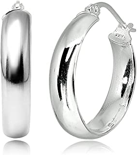 Sterling Silver Wide Thick High Polished Half Round-Tube Click-Top Light Hoop Earrings, Choose a Size