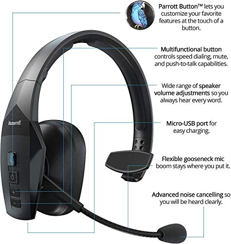 BlueParrott B550-XT Voice Controlled Bluetooth Headset with Noise Cancelling Microphone for iOS and Android Bundle with Blucoil Headphones Carrying Case, Replacement Mic Windscreens and Ear Pads