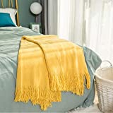 INSHERE Solid Gold Yellow Color Knitted Throw Blanket with Tassels Fringe Cotton Soft Cozy Comfy Warm Lightweight Home Decor Gift for Couch Chair Sofa Bedroom Living Room 51''x67''