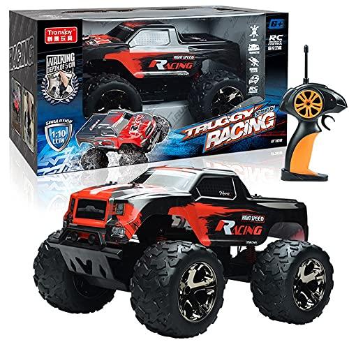 Nsddm 1/10 escala de gran tamaño RC Coche, 20kph High Speed Off Road Racing, vehículo de control remoto de 2.4GHz, 4WD Camión de escalada todo terreno, regalo de juguete de Navidad para niños y adlu