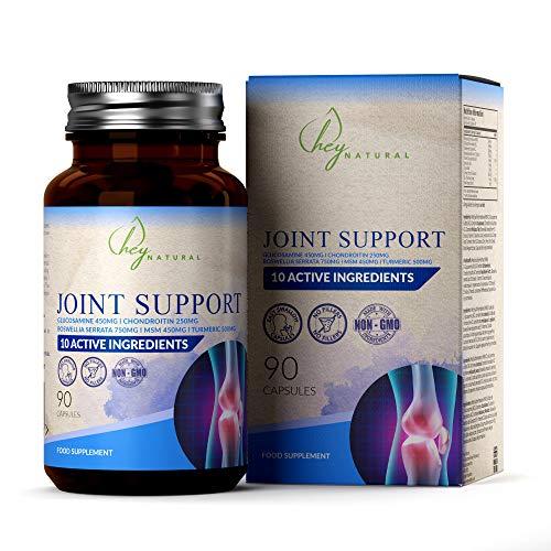 HN Suplemento para Articulaciones | 10 Ingredientes que Incluyen Glucosamina y Condroitina, MSM, Boswellia, Zinc, Acido Hialuronico y Curmuma en Capsulas | Alta Resistencia, Sin Rellenos, 90 Capsulas