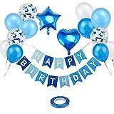 Globo de cumpleaños azul, decoración de cumpleaños para niños, guirnalda Happy Birthday con confeti, globos de helio de 30 cm, decoración para cumpleaños infantiles, para niños y hombres